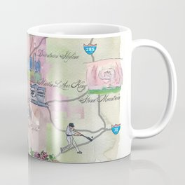 Atlanta Favorite Map with touristic Top Ten Highlights in Colorful Retro Style Coffee Mug