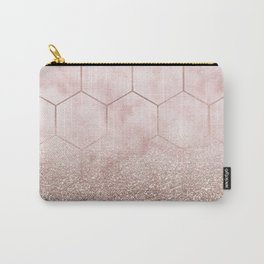 Glitter ombre hex - cloudy pink marble & rose gold glitter Carry-All Pouch