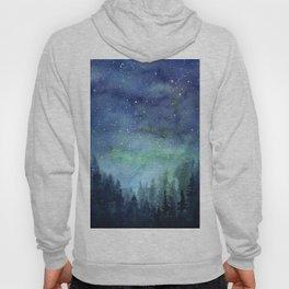 Watercolor Galaxy Nebula Northern Lights Painting Hoody