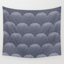 White and blue scalloped dots geometric pattern Wall Tapestry