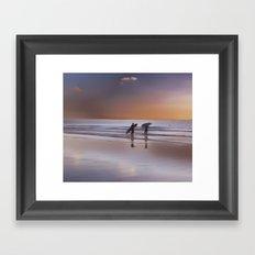 sunset surf Framed Art Print