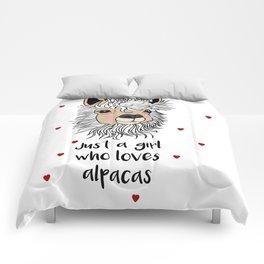 alpaca girl Llama Love Present Gift Comforters