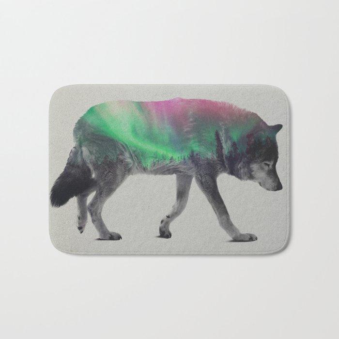 Wolf In The Aurora Borealis Bath Mat