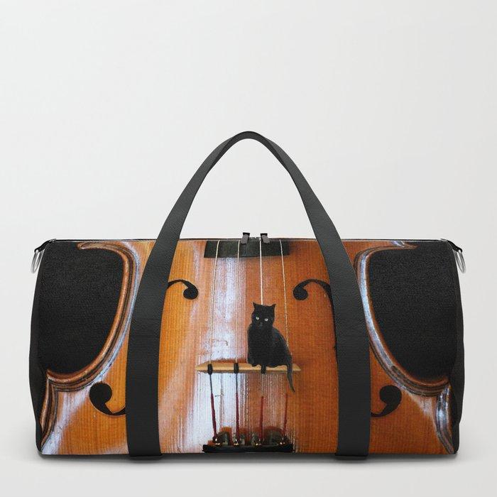 Black Cat And Violin #decor #society6 Duffle Bag