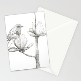 Bird and magnolia Stationery Cards
