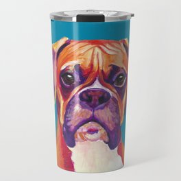 Boxer Face Blue boxer dog breed funny dog animals pets Travel Mug