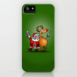 Santa Claus and his Reindeer iPhone Case