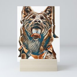 portrait of a Australian Kelpie Dog with rescue dog harness        - Image Mini Art Print