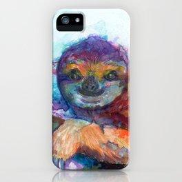 Sloth Mixed Media on Yupo iPhone Case