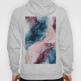 Pastel Plum, Deep Blue, Blush and Gold Abstract Painting Hoody