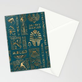 Egyptian hieroglyphs and deities - Gold on teal Stationery Cards