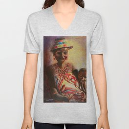 African Mother and Child Unisex V-Neck