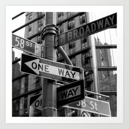 Street sign in New York City, black and white Art Print
