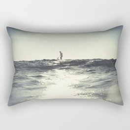 SUP board surfer at Sunset vintage Film simulation Rectangular Pillow