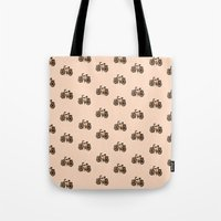 bikes Tote Bags featuring Bikes by andy_panda_