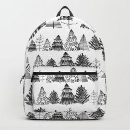 Trees Two Black and White Backpack