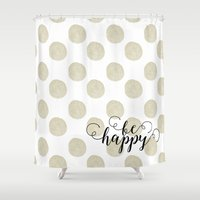 gold dots Shower Curtains featuring Gold Watercolor Dots Happy by Zen and Chic