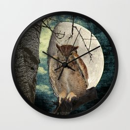 Great Horned Owl Bird Moon Tree A138 Wall Clock
