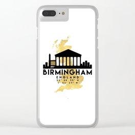 BIRMINGHAM ENGLAND SILHOUETTE SKYLINE MAP ART Clear iPhone Case
