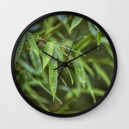 Lush Green Tropical Bamboo Leaf Wall Clock