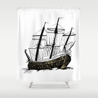 ship Shower Curtains featuring Ship by Bonnie & Caprice