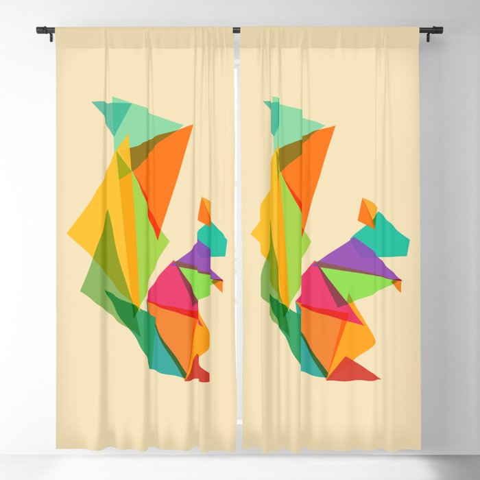 Fractal geometric Squirrel Blackout Curtain