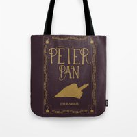 book cover Tote Bags featuring Peter Pan Book Cover by Abbie Imagine