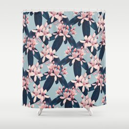 Galphimia in Prussian Blue Shower Curtain