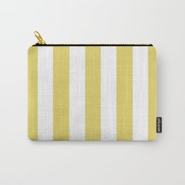 Hansa yellow -  solid color - white vertical lines pattern Carry-All Pouch