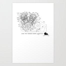 Motorbike diagram Art Print