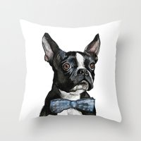 boston terrier Throw Pillows featuring Boston Terrier by Orestis Lazos
