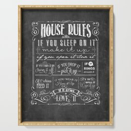 House Rules Retro Chalkboard Serving Tray