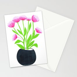 Flower base, Modern colorful line art and paper cuts Stationery Cards