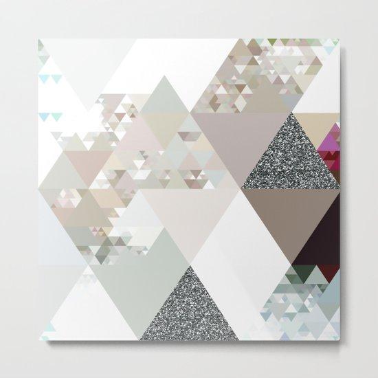 Triangles in glittering graphite quartz - Grey glitter triangle pattern Metal Print