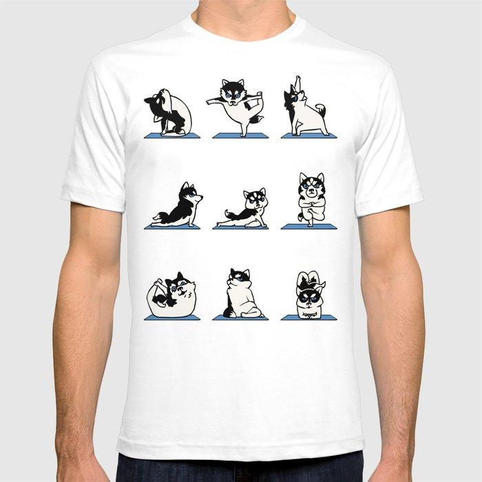 Husky Yoga T-shirt By Huebucket