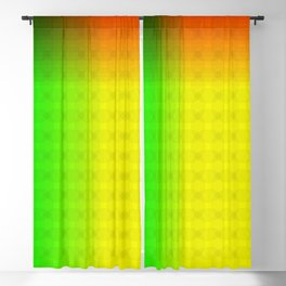 Green Yellow Red and Black Ombre Circle Grid Blackout Curtain