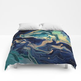 DRAMAQUEEN - GOLD INDIGO MARBLE Comforters