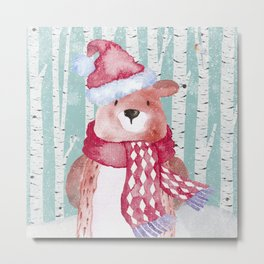 Winter Woodland Friends Cute Bear Snowy Forest Illustration Metal Print