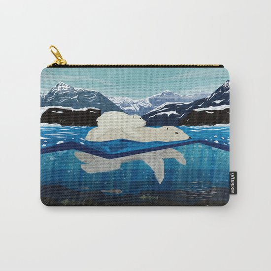 Polar bear mom and Cub Swimming  Carry-All Pouch