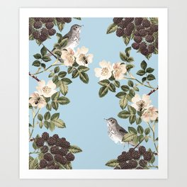 Birds and the Bees Blue Art Print