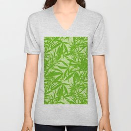 Vintage Cannabis Blossom Toss in Lime Green Unisex V-Neck