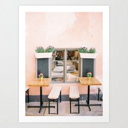 Pink Cafe in Sweeden Art Print