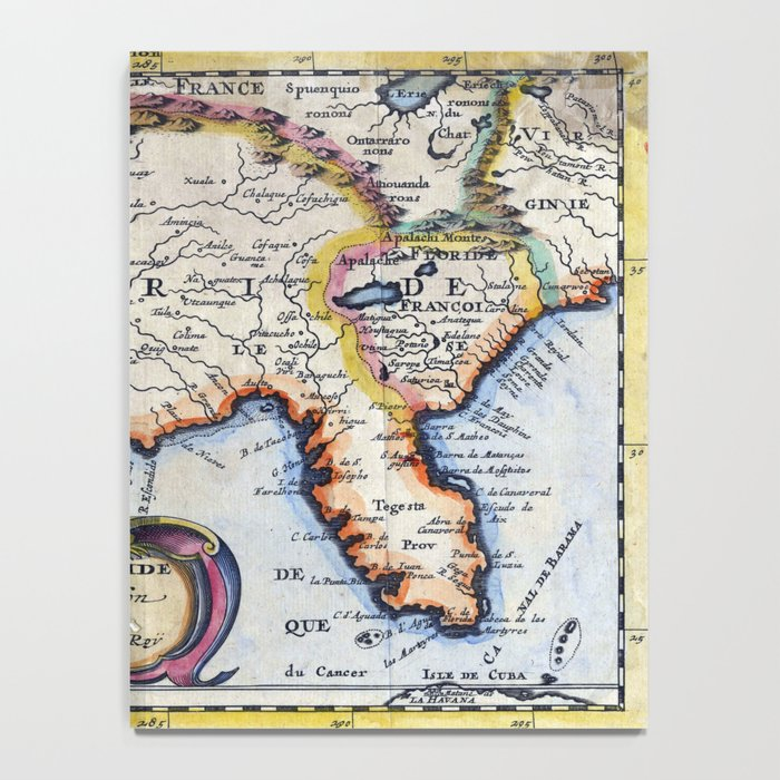 Antique Map Of Florida.Antique Map Of Florida Design 1 Notebook By Wilsongraphics Society6