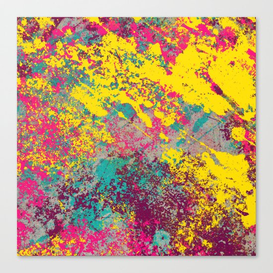 Abstract TexTure Uno - Pink, Purple, Blue And Yellow Canvas Print
