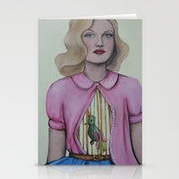cage Stationery Cards featuring Bird cage/Rib cage by Emma Berlin