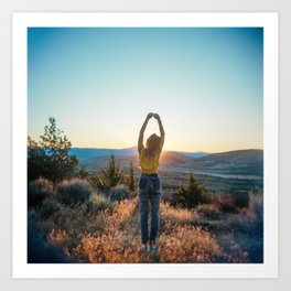 """Golden Hour Girl"" - Sunset in Bend, Oregon Art Print"