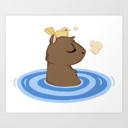 Capybara in the lake Art Print