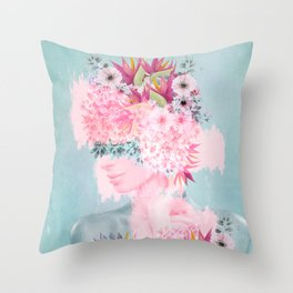Woman in flowers II Throw Pillow