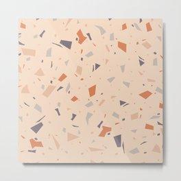 Warm Orange Terrazzo - Granite Marble Texture Pattern Metal Print