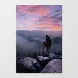 Lone Wolf at Sunset Ridge Canvas Print